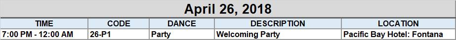 April 26th Schedule