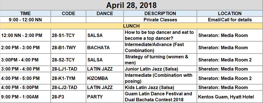 April 28 schedule